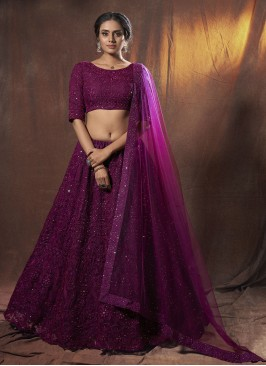 Net Purple Lehenga Choli