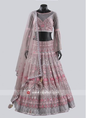 Net Resham and Zari Work Lehenga Choli