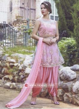 Net Resham Work Dhoti style Salwar Suit