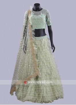 Net Ruffle Lehenga with Choli and Dupatta