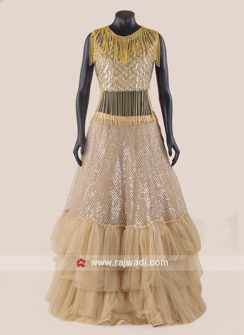 Net Ruffle Lehenga with Salli  Work Choli