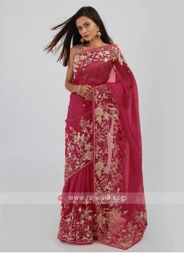 Net Saree In Crimson