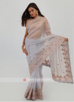 Net Saree In Grey