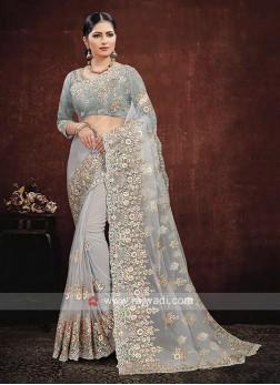 Net Saree In Grey Color