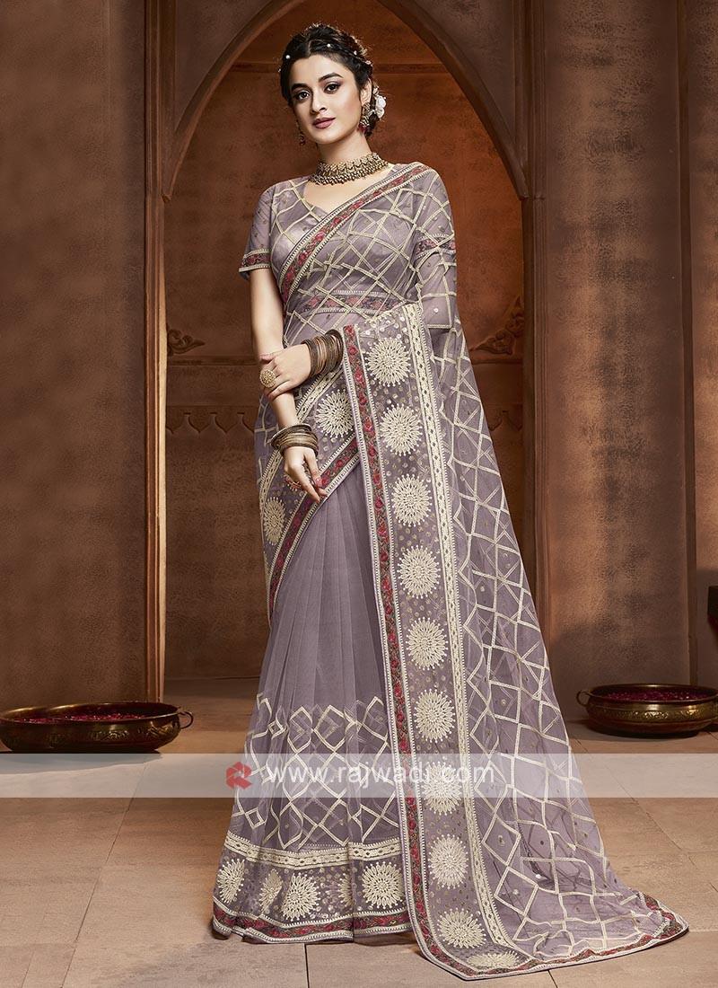 Net Saree In Lavender Color