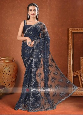 Net saree in navy blue color