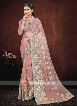 Net Saree In Peach Color