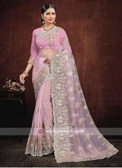 Net Saree In Pink Color