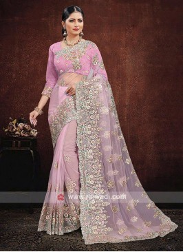 Net Saree In Pink Color