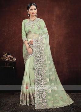 Net Saree In Pista Green Color