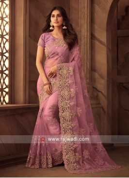 Net Saree with Stone Work