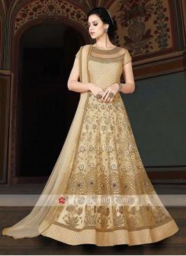 Net Semi Stitched Anarkali Salwar Suit in Cream