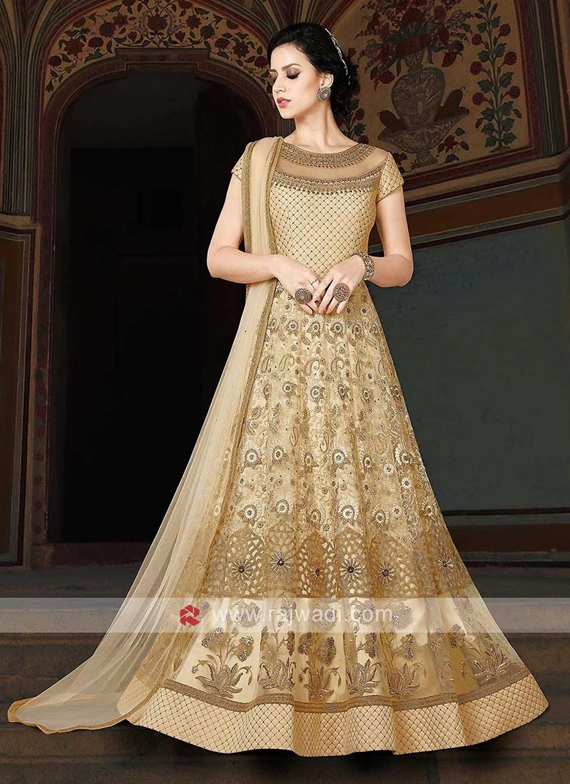 Net Semi Stitched Anarkali Salwar Suit in Cream