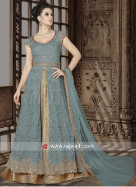 Net Semi Stitched Lehenga Style Suit in Sky Blue