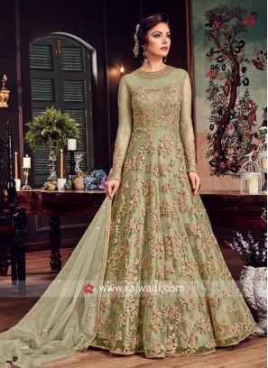 Net Semi Stitched Salwar Kameez