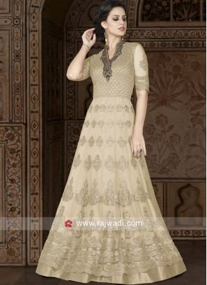 Net Semi Stitched Suit in Golden