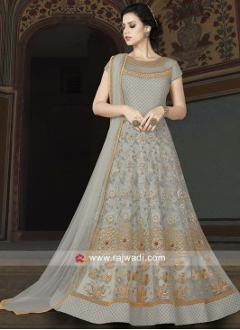 Net Semi Stitched Suit in Light Pista