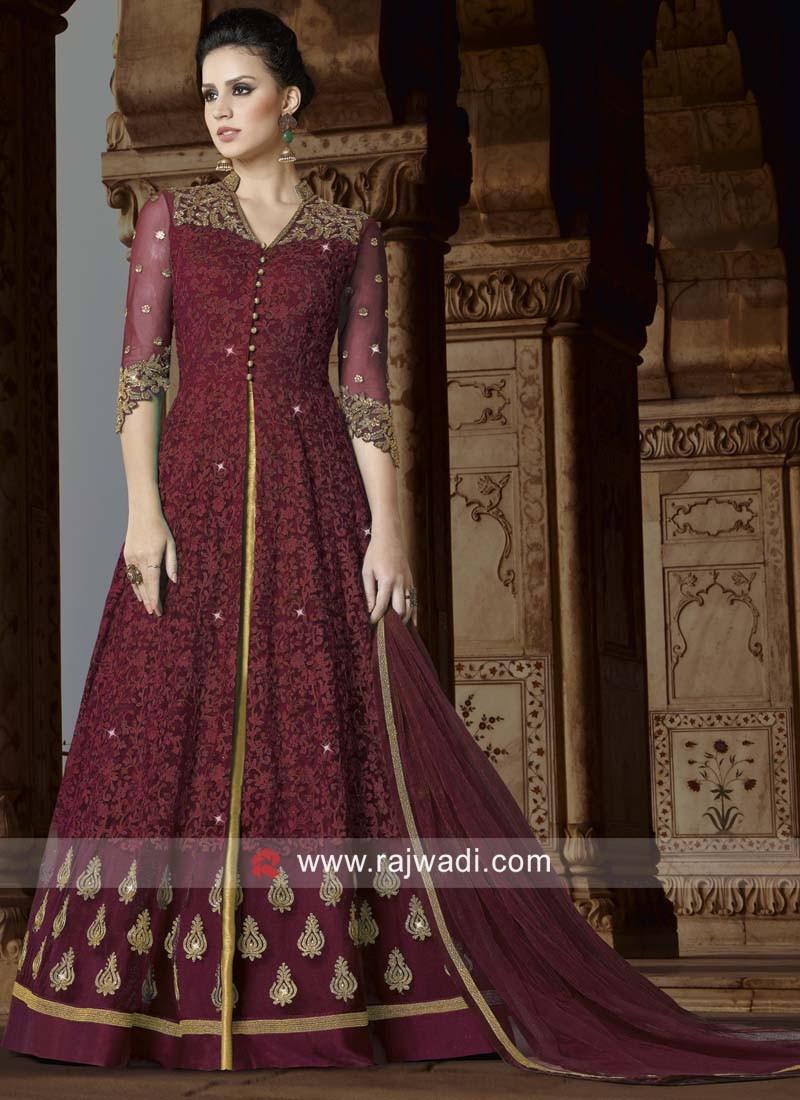 Net Semi Stitched Suit with Dupatta
