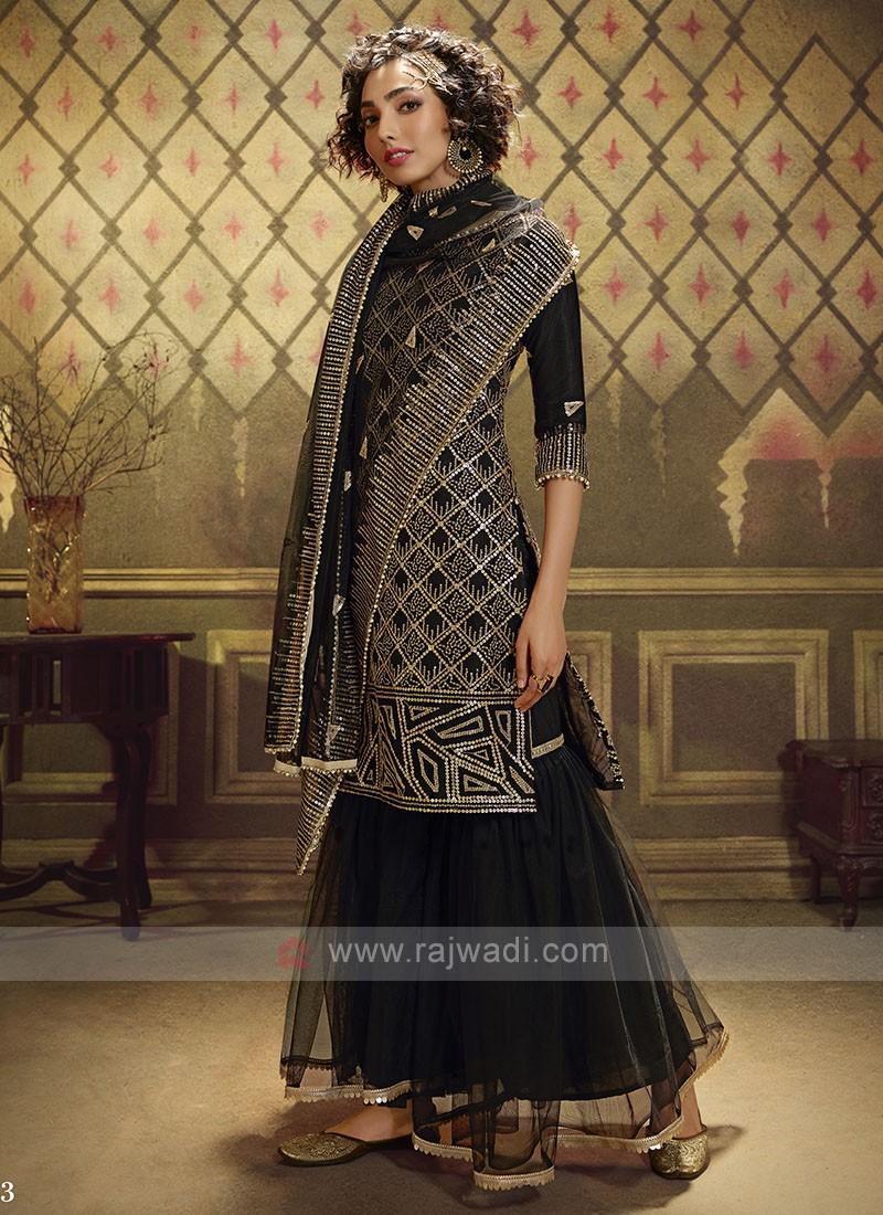 Net Sequins Work Dress Material In Black