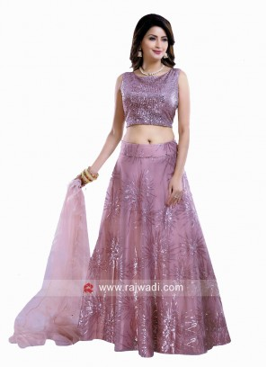 Net Sequins Work Lehenga Set