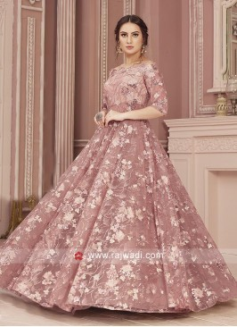 Net Sequins Work Readymade Gown