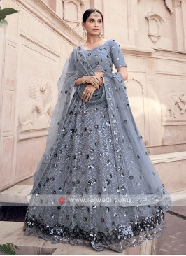 Net Sequins Work Grey Lehenga Choli