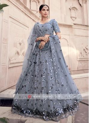 Net Sequins Work Grey Lehenga Choli