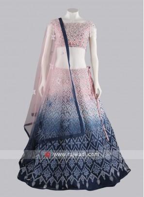 Net Shaded Embroidery Lehenga Set