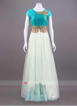 Net Sheer Embroidered Gown