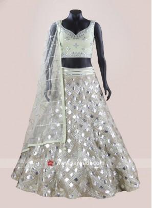 Net Silk Designer Lehenga Set in Pista Green