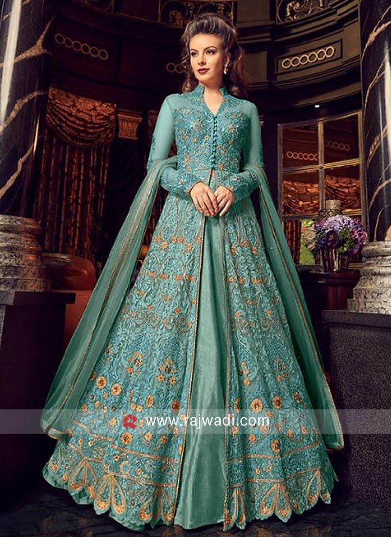 Net Sky Blue Heavy Wedding Salwar Suit
