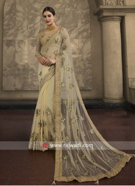 Net Stone and Beads Work Saree
