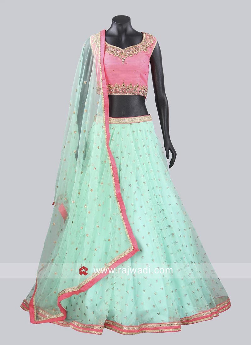 Net Stone Work Lehenga Set