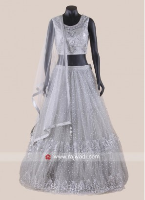 Net Traditional Lehenga Choli in Grey