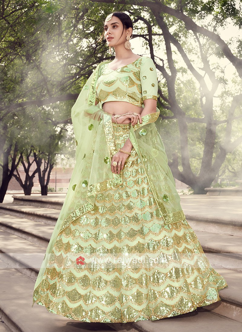 Sequins Work Pista Green Net Lehenga Choli