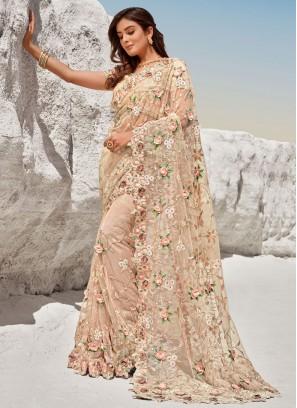 Net Zari Bollywood Saree in Peach
