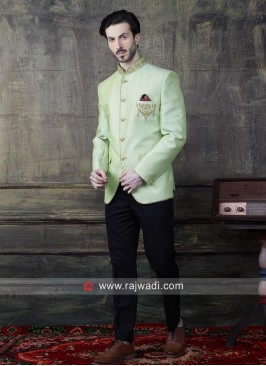 Attractive Parrot Green Jodhpuri Suit