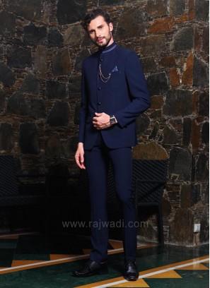 New Design Navy Color Jodhpuri Suit