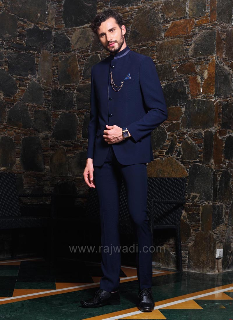 New Design Navy Color Jodhpuri Suit