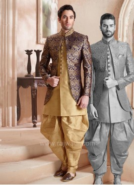 New Designer Blue Koti With Stylish Kurta and Bottom