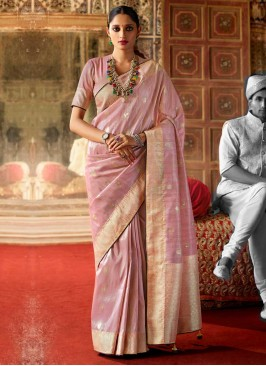 New pattern Light Pink Color Art Raw Silk Saree