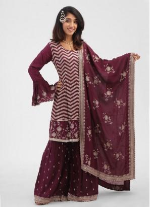 Occasional Wear Magenta Color Crepe Silk Gharara Suit