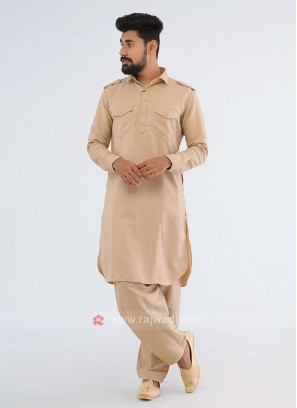 Occasional Wear Pathani Suit In Cream Color