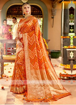 Oerange Color Banasari Silk Saree