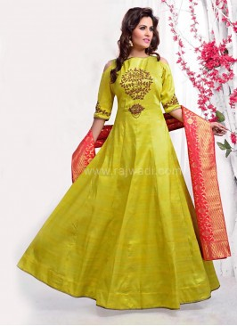 Off Shoulder Raw Silk Anarkali Suit