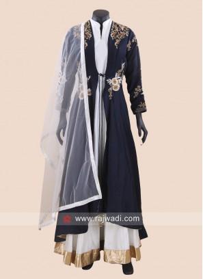Off White Anarkali with Layered Long Jacket