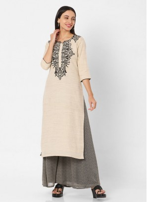 Off-White And Black Georgette Print Palazzo