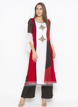 Off White And Black-Red Shaded Salwar Suit