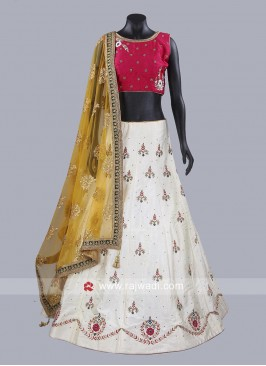 Off White and Deep Pink Designer Lehenga