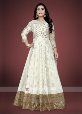 Off-white and golden anarkali